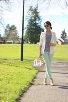 navy striped xhilaration dress - aquamarine Zara jeans - ivory H&M blazer