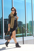 black Chanel bag - olive green Zara jacket - black graphic Urban Outfitters top