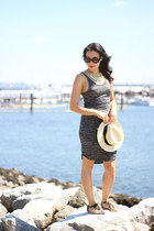 eggshell panama H&M hat - gray marled jersey Wilfred Free dress - white Zara bag
