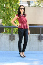 maroon peplum H&M top - black brocade Zara jeans - black Aldo pumps