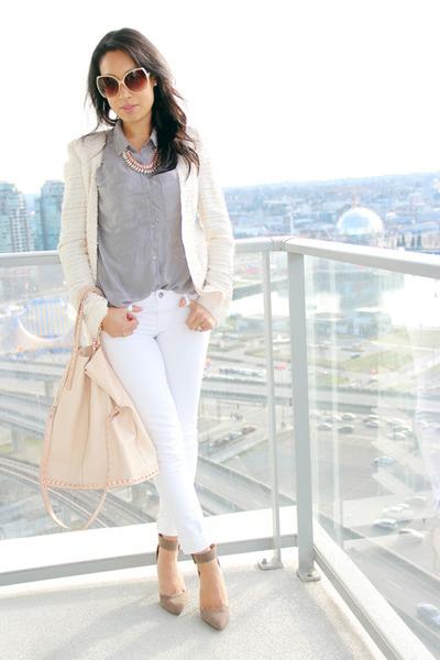 eggshell tweed Zara blazer - white skinny Fade to Blue jeans - silver H&M shirt