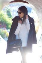 black Babaton coat - ivory turtleneck H&M sweater