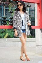 brown leopard print H&M coat - light blue denim H&M shorts