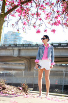white skort Zara shorts - light blue denim H&M jacket