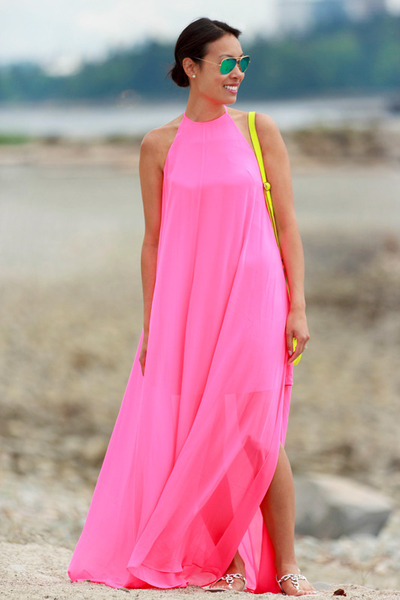 hot pink maxi asos dress - yellow mini JCrew bag - green ray-ban sunglasses