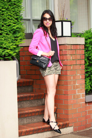 black Chanel bag - hot pink Zara blazer - olive green camouflage Old Navy shorts