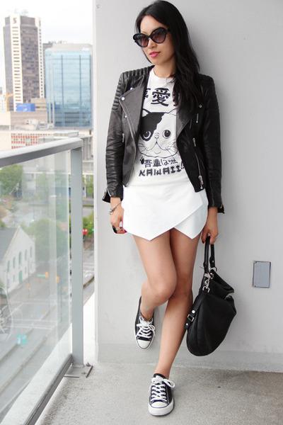 black H&M jacket - black hillier hobo Marc by Marc Jabobs bag