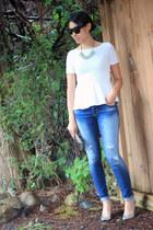 silver Vince Camuto wallet - blue Gap jeans