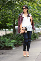 navy moto combo James Jeans jeans - maroon faux leather H&M jacket