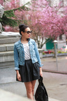 blue denim H&M jacket - ivory kiss J Crew t-shirt - black asos skirt