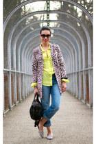 light brown leopard print H&M coat - blue boyfriend Gap jeans