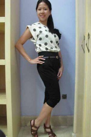 white no brand blouse - black no brand pants - silver no brand belt - brown Serg