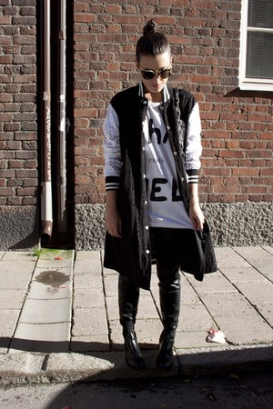 black acne boots - black Goen J jacket - black acne bag - black Super sunglasses