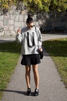 heather gray TopShop Unique sweater - black Zara bag - black Super sunglasses