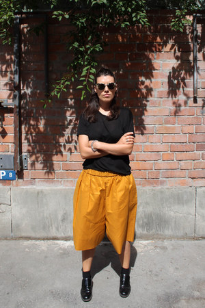 black Super sunglasses - mustard acne shorts - black COS loafers