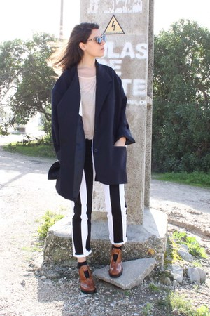 ivory acne pants - navy Maison Margiela for H&amp;M blazer - black Super sunglasses