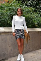 light brown camouflage Bershka skirt - white knit Zara sweater