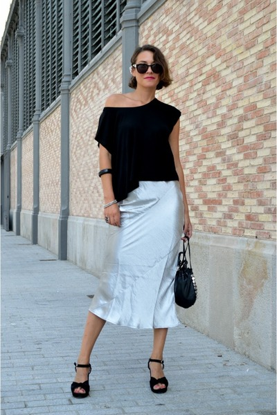 silver metallic Front Row Shop skirt