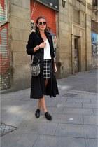 black trench coat H&M jacket - white layering Mango dress