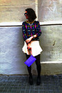 Black-ankle-boots-vagabond-boots-periwinkle-clutch-bimba-lola-bag