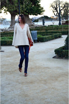 light brown reptile Zara boots - blue flared Zara jeans