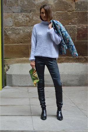 periwinkle knit Bershka sweater - blue satin H&M pants