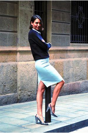 light blue pencil skirt Zara skirt - black neoprene H&M sweater