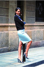Black-neoprene-h-m-sweater-light-blue-pencil-skirt-zara-skirt