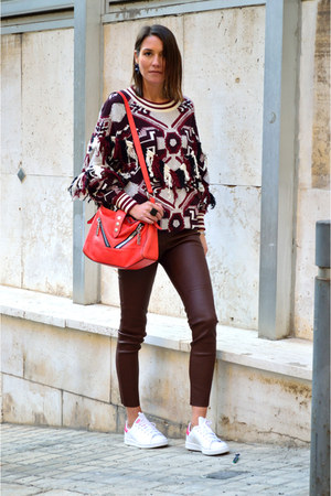 brown leather Zara pants - dark brown ethnic print Zara sweater