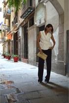 ivory Front Row Shop vest - navy loose wide leg Zara pants
