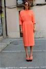 Orange-tailored-other-stories-dress-gold-arm-cuff-h-m-bracelet