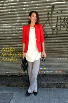camel chain PERSUNMALL necklace - red Zara blazer