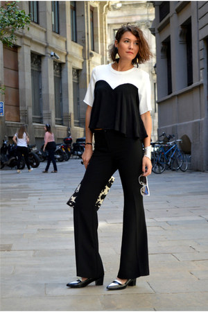 black cropped H&M Trend top - black flared H&M Trend pants