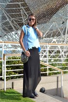 light blue assymetric PERSUNMALL t-shirt - black assymetric Zara skirt
