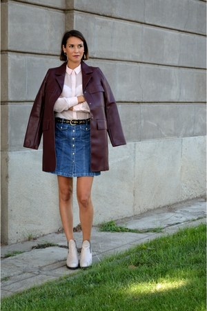 brick red pleather Zara coat - sky blue denim vintage skirt