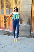yellow Fornarina pumps - blue Pull & Bear jeans - white vintage glasses