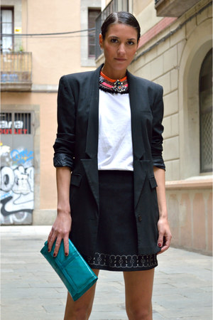 black straight H&M blazer - black suede Sfera skirt
