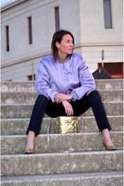 gold glitter vintage pumps - periwinkle bomber H&M Trend jacket