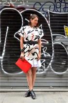 white Sheinside dress - red clutch Zara bag