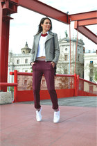 maroon track pants H&M Trend pants - silver leather Zara jacket
