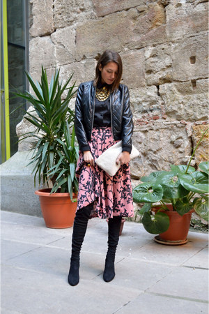 bubble gum paisley H&M skirt - black el corte ingles boots