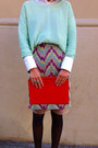 Aquamarine-cropped-h-m-sweater-red-clutch-leather-zara-bag