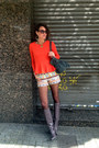army green satchel H&M bag - carrot orange peplum H&M Trend top