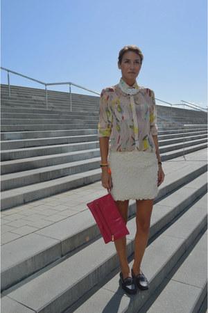 light yellow transparent H&M shirt - red clutch Topshop bag
