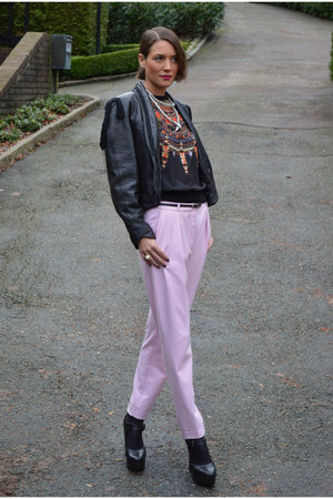 black vintage jacket - bubble gum cigarette H&M Trend pants