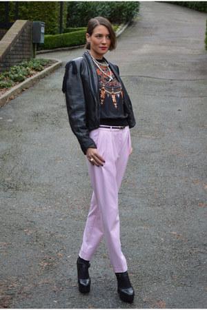 black vintage jacket - bubble gum cigarette H&M Trend pants