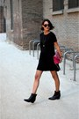 Black-ankle-boots-acne-boots-black-lace-zara-dress