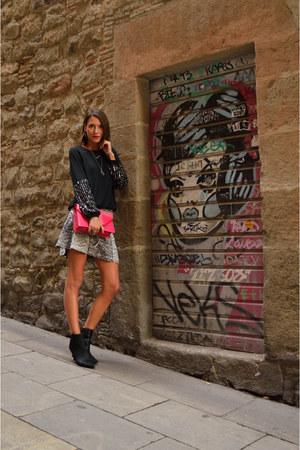 black ankle boots Zara boots - hot pink studded Yves Saint Laurent bag