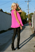hot pink babydoll dress thrifted vintage dress - black lace up f21 boots