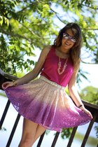 magenta ombre Local store skirt - violet mirror Aldo sunglasses